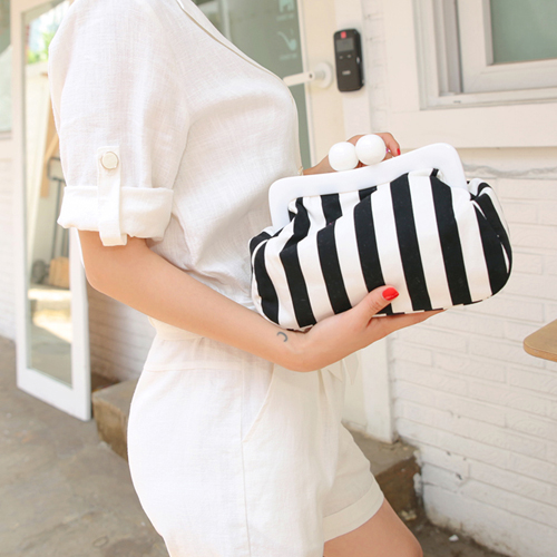 one touch stripe pouch bag
