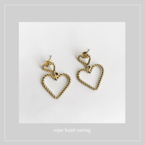rope heart earing