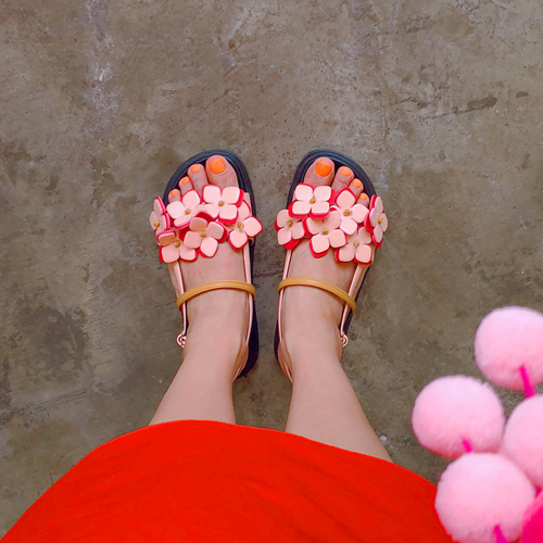 flower garden strap shoes
