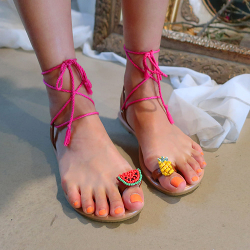 beads fruit strap sandal