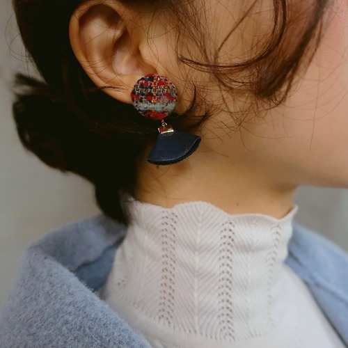 tweed leather earring
